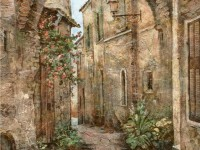 Декоративная фреска со средневековой улицей