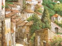 Фреска на стену с городом на холмах