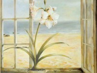 Фреска для дома с лилией в горшке