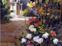 Фреска цветы на фоне дома