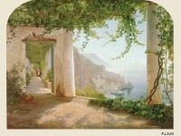 Фреска на стену с монахами в галерее