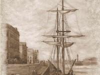 Фреска с пришвартованным кораблем в сепии