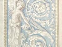 Фреска с крылатой девушкой на голубом фоне