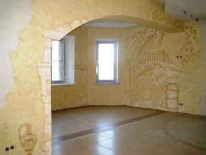 Декоративная штукатурка для отделки стен в гостиной