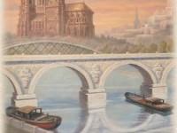 Фреска с кораблями около моста