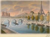 Фреска на стену с видом на Париж
