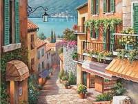 Фреска для дома улочка маленького города