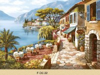 Фреска для дома с прибрежным кафе