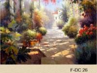 Фреска с домом в цветах