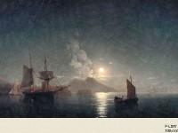 Декоративная фреска с кораблями на воде