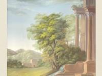 Декоративная фреска с деревом у беседки